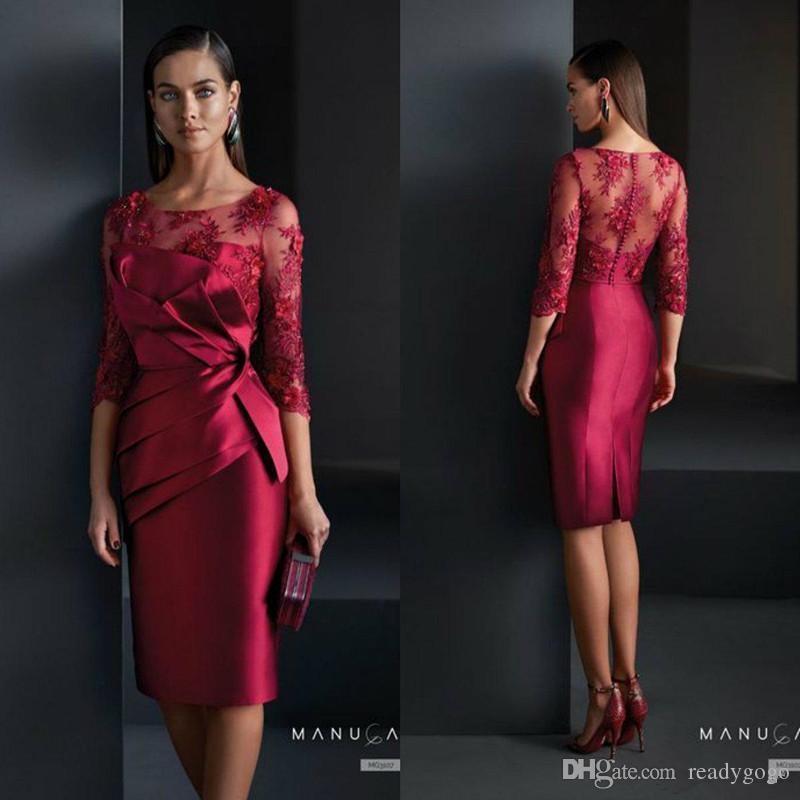 Vermelho escuro curto Bainha Mãe da noiva vestidos de cetim Lace Appliqued joelho vestido de casamento Visitante 3/4 de vestidos de noite formal