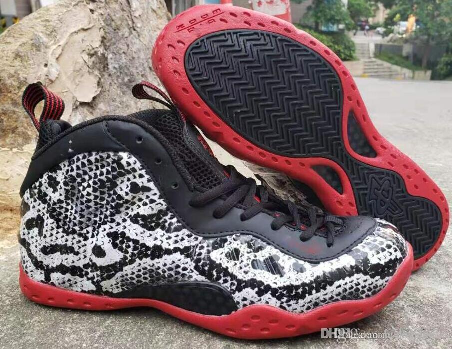 Homens Foam um Pro Pele de serpente tênis de basquete Penny Hardaway Tan cobra Espumas 1 Sneakers Esportes Tamanho 40-47
