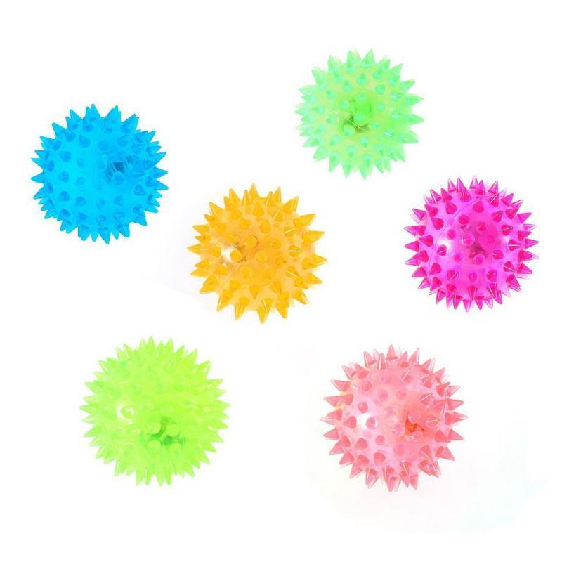 Os filhotes de cachorro Flashing Light Up Lovely Dog Cat Pet Hedgehog Rubber Ball Sino Som Bola criativa engraçado que joga o brinquedo para animais agradáveis