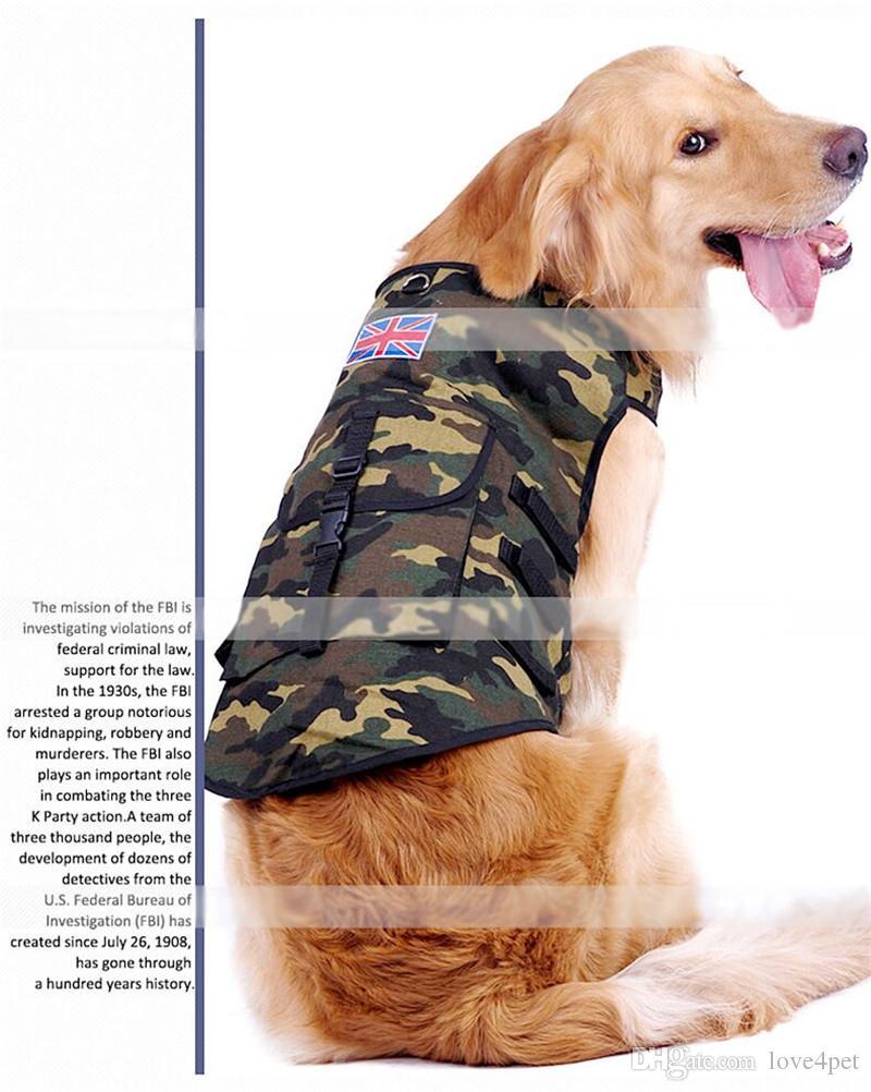 F10 Large dog Vest with bag amouflage Pattern Dog Clothes International UK USA Flag Decoration Pets Vest