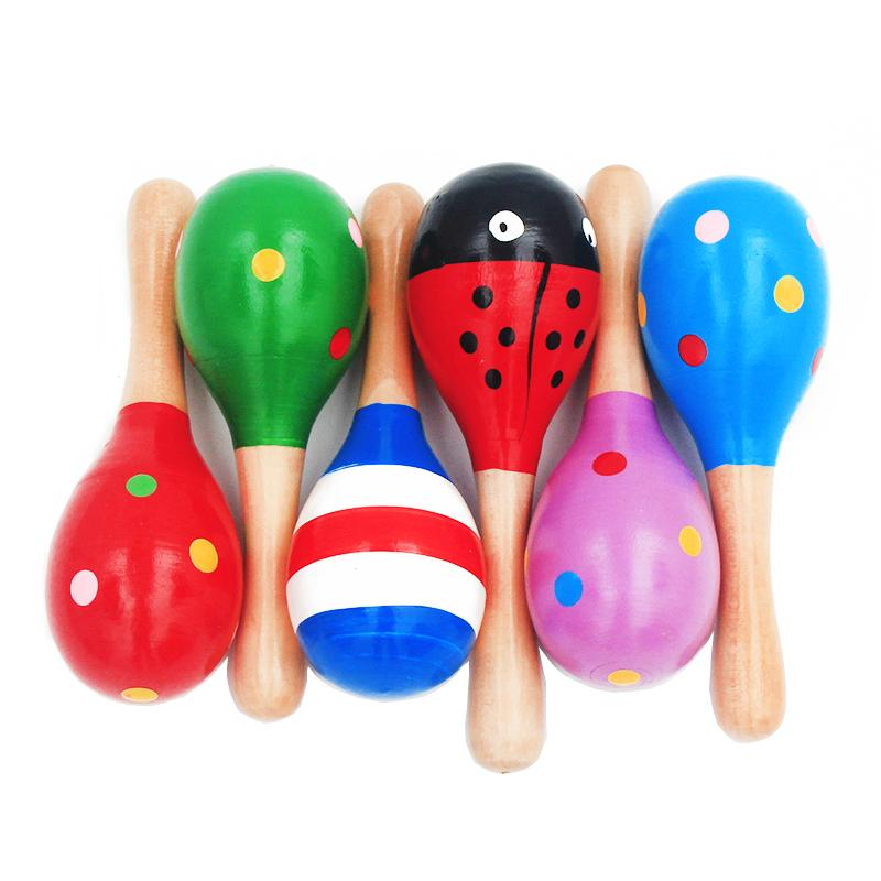 1 Wooden Maraca Rattles Musical Party Favor Kids Baby Shaker Toy Xmas Gift #a