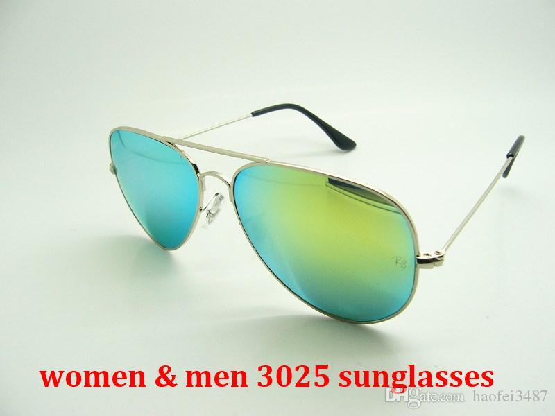 النظارات الشمسية النظارات الشمسية الطيار نمط العلامة التجارية مصمم للرجال النساء الإطار المعدني فلاش مرآة زجاج عدسة 3025 نظارات شمسية Gafas دي سول 58mm 62mm