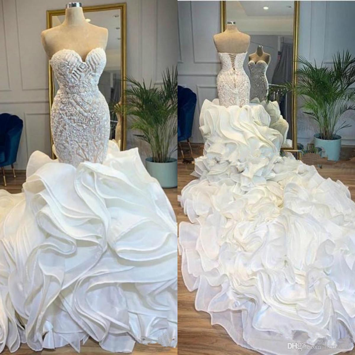 Cascading Ruffles Cathedral Train Mermaid Wedding Dresses Bridal Gowns 2021 Sweetheart Corset Back Beaded Work Arabic Church Plus Size