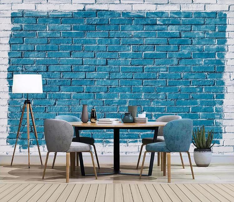 Gran fondo de pantalla 3D mural de encargo azul de la pared de ladrillo salón Nostálgico estuco fondo televisión del dormitorio del papel pintado mural 3d