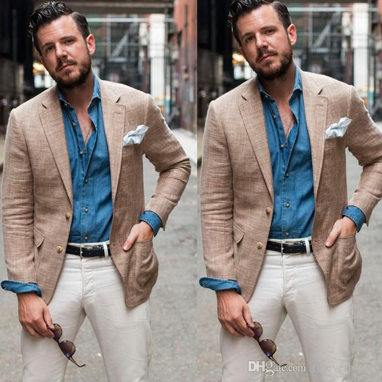 Mens bonito smoking formal lapela lapela casaco de linho noivo melhores homens blazer roupas só uma peça