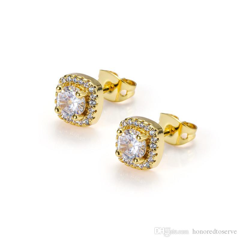 Designer di lusso Uomo uomo donna Hip Hop Orecchini Gioielli Moda Tondo Oro Argento Diamante nero Orecchini orecchini 2019
