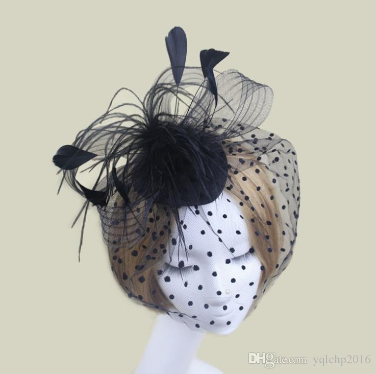 Bride's Headdress Hair Feather Face Covering Hair Pinch veil Little Top hat Mesh Butterfly Tie Headdress