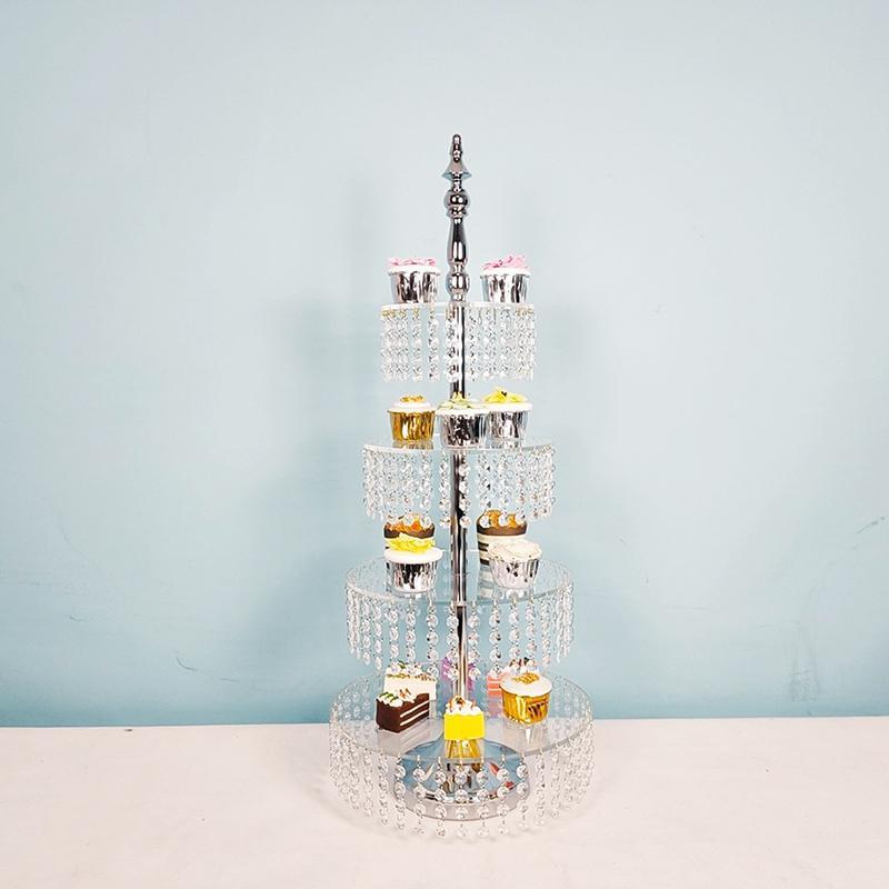 Alta qualidade de acrílico Stand Cake 4 camadas 3 camadas de papel copo decoração de casamento