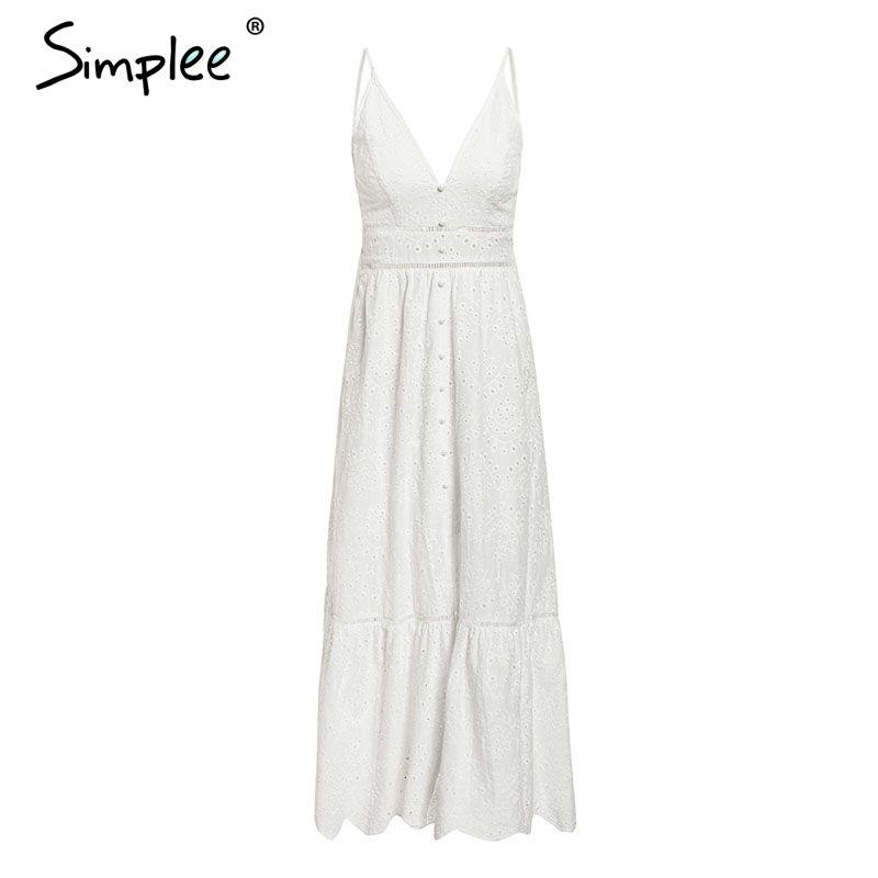 Simplee Nakış beyaz seksi kadınlar yaz elbise V boyun spagetti kayışı inci düğmeler pamuk elbiseler Akşam parti uzun vestidos