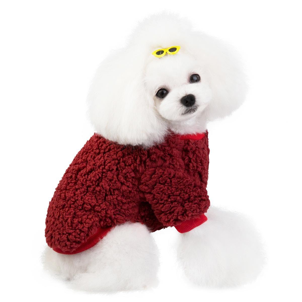 Симпатичные полосатые четвероногие одежды любимчика хлопка карман пижамы пижамы хлопка домашняя кошка Тедди собака одежда осень и зима