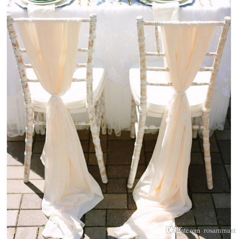 Il più nuovo romantico Flowy Wedding Chair telai larghi e lunghi 30D chiffon Chiavari coprisedili Custom Made crema avorio bianco 200 * 75 CM