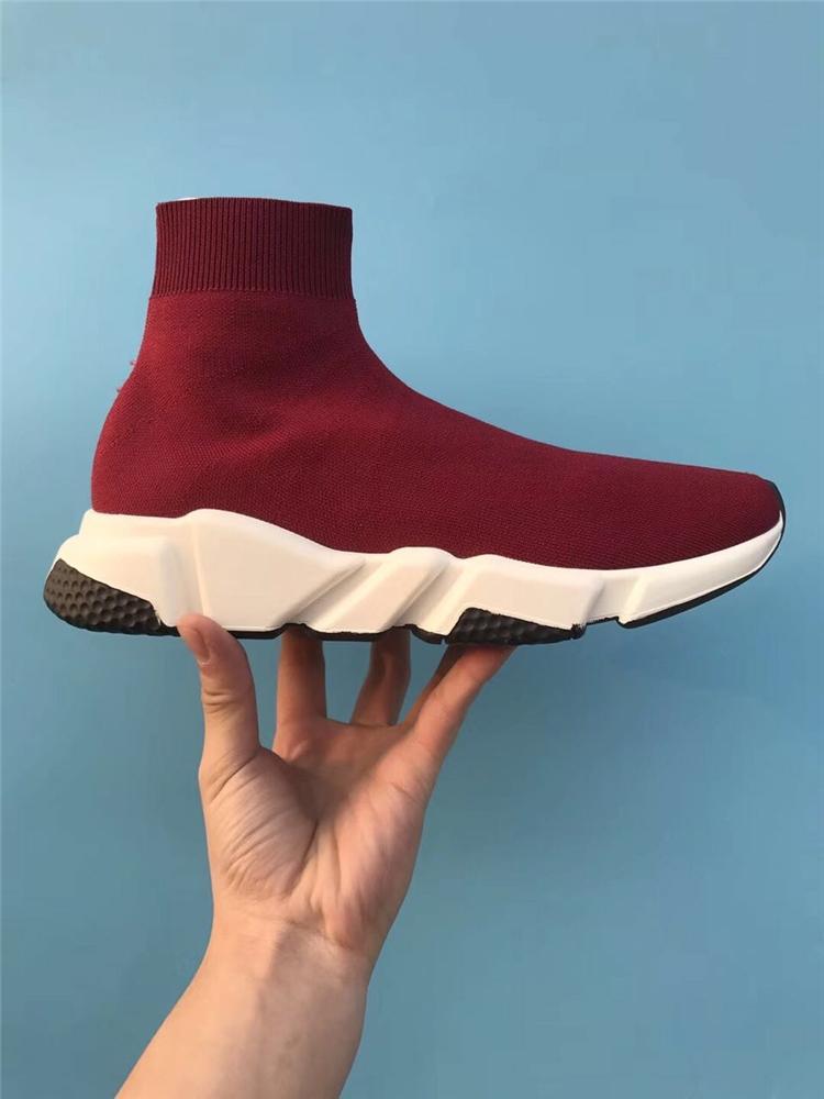 2019 Nouvelle haute qualité vitesse formateur de luxe Hommes Chaussures Femmes Designer Chaussures Noir Bleu Plate-forme Formateurs chaussures chaussettes sport Runner rouge bleu