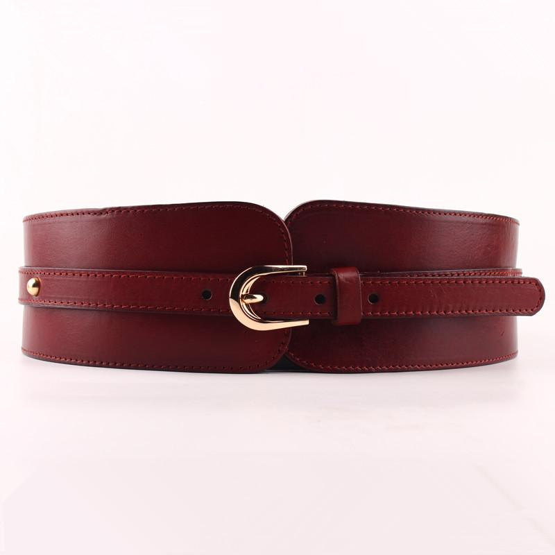 100% Cowskin Wide Belt For Women High Quality Ceinture Femme Elastic Waistband Female Vintage Genuine Leather Belt Buckles T200511
