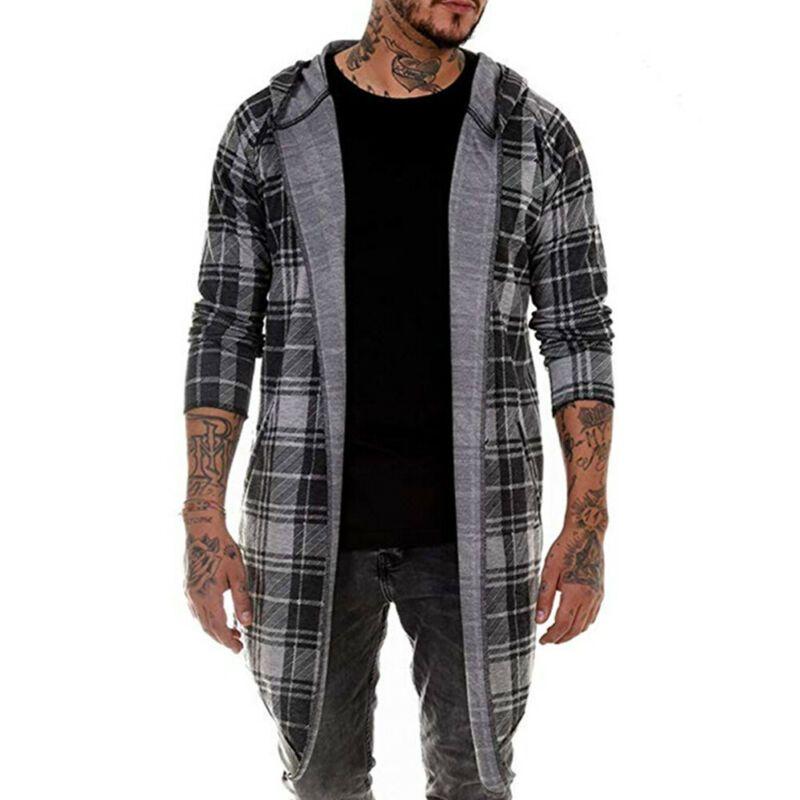 2019 La nueva capa de tela escocesa de los hombres de la puntada abierta Cardigan manga larga con capucha Con Nood flojo ocasional de la chaqueta larga capa Longitud