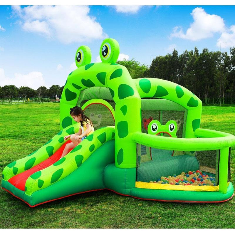 Frog Inflatable Jumping Bouncer House Bouncy Castle for Kids Birthday Inflatable Bouncers Frog Prince Castle with Pool and Slide