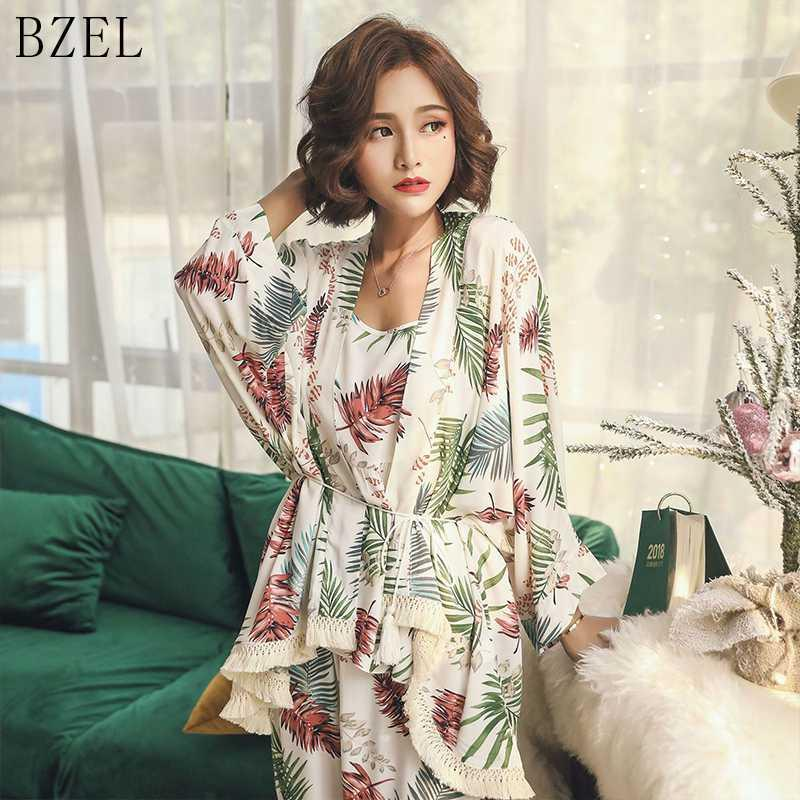 BZEL 2019 Frühling und Herbst Langarm Baumwolle Pyjama Set 3 Stück Set Damen Nachtwäsche Sexy Nachtwäsche für Frauen Schlafen M-XL