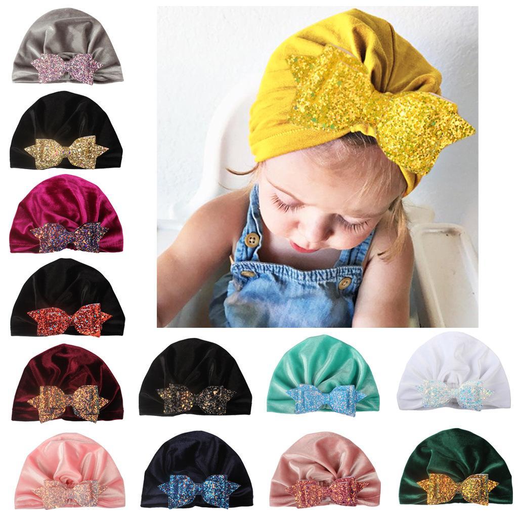Nova Europa infantil Bebés Meninas Hat Sequins bowknot Headwear criança da criança crianças Gorros Turban Chapéus Crianças Pleuche Chapéus 13 cores A747