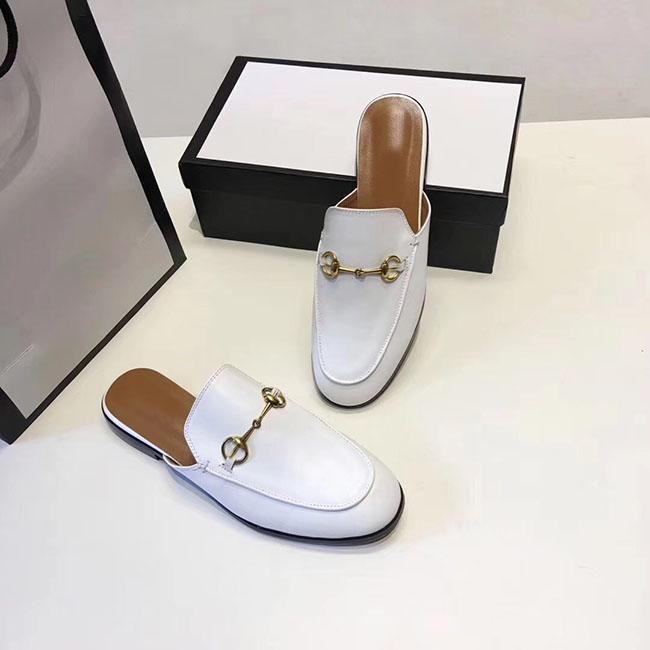 2019high kalite son sıcak satış klasik bayan terlik markası tasarımcı moda bayan bayan deri sandaletler boyutu 34-40