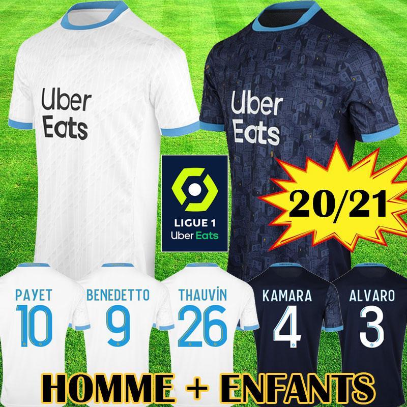 Camiseta OM 2020 2021 Olympique de Marsella Tailandia 20 21 OM Marsella Camiseta de fútbol para niños BENEDETTO PAYET L GUSTAVO 19 20 21 Marsella infantil THAUVIN encabeza