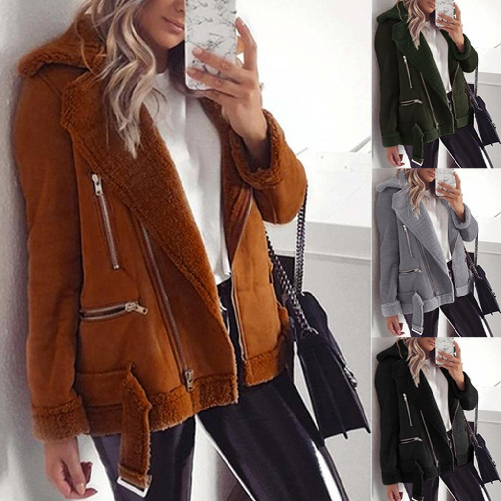 Women Suede Lapel Neck Jacket Long Sleeve Zipper Pocket Solid Color Coats Ladies Wide Waisted Jackets