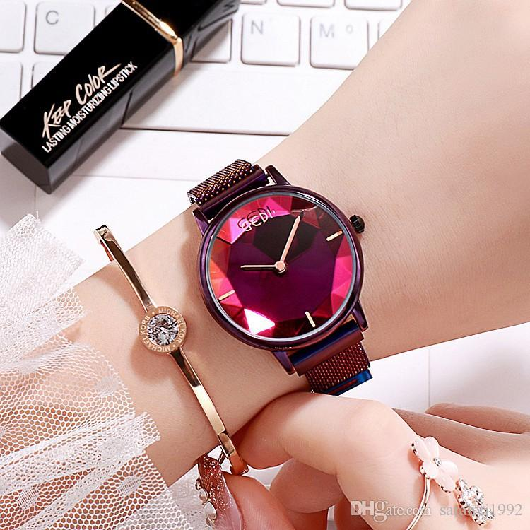 GEDI Explosion Concept Korean Blue Glass Watch Female Watch Net Red Vibrating Sound With The Lazy Magnet Stone Strap