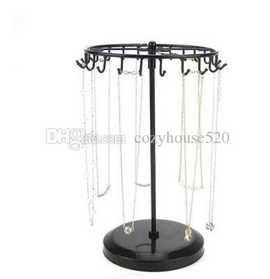 Fashion 15*33*18cm Rotary Jewelry Display Stand Holder Earring Display Iron Frame Necklace Holder Accessories Base Storage Dro 1pc C173