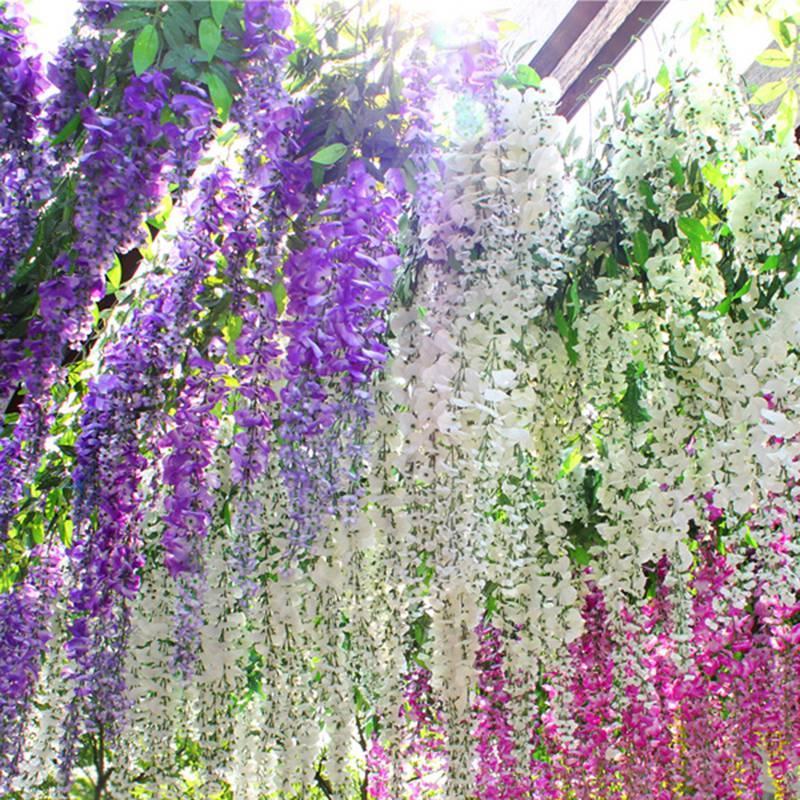 12pcs / set artificial Wisteria Flor de Wisteria Flor de seda elegante de la vid denso de la fiesta de jardín boda de fiesta Decoración Suministros HHA1143