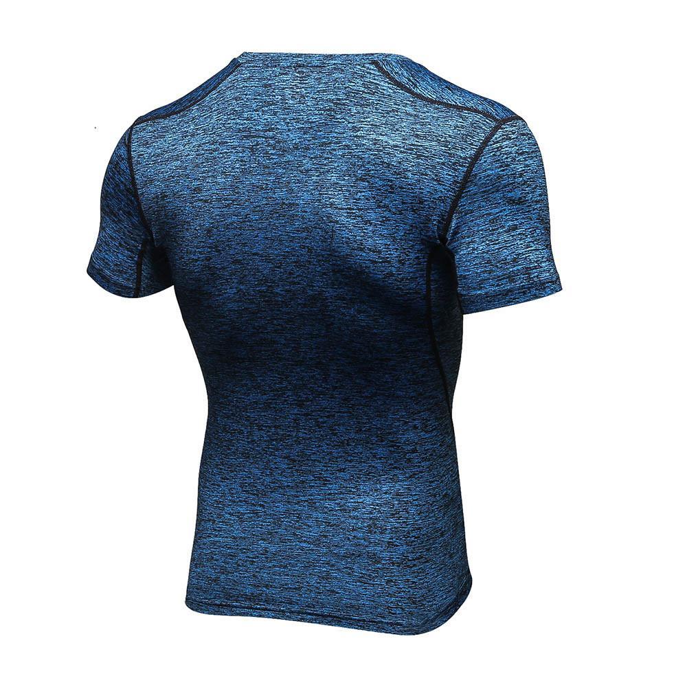 Mens Fitness Short Sleeve Rashguard T-Shirt Bodybuilding Skin Tight-Drying Tops