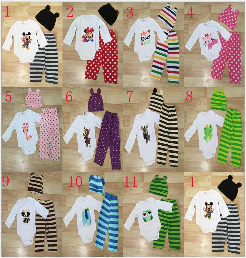 Säuglingskleidung Langarm-Strampler Set Baby Outfits 3pcs Cartoon-Tierdruck-Top gestreifte Hose und Hut Set Monate Babys Mädchen