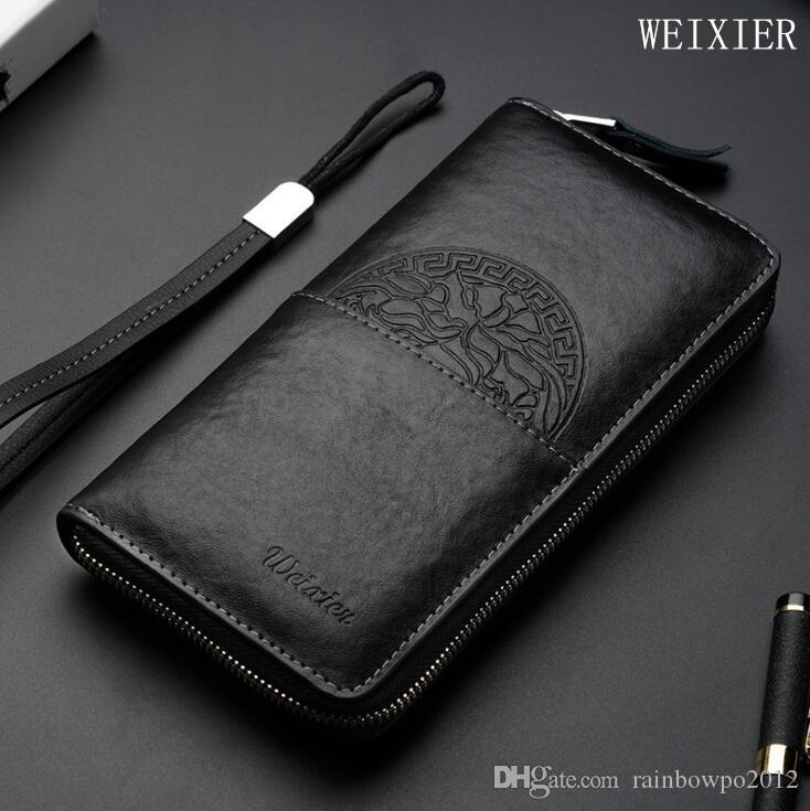 Fábrica al por mayor de los hombres bolso de cuero de moda de los hombres de negocios mano embrague multifuncional antirrobo cepillo de cuero billetera exquisito en relieve st