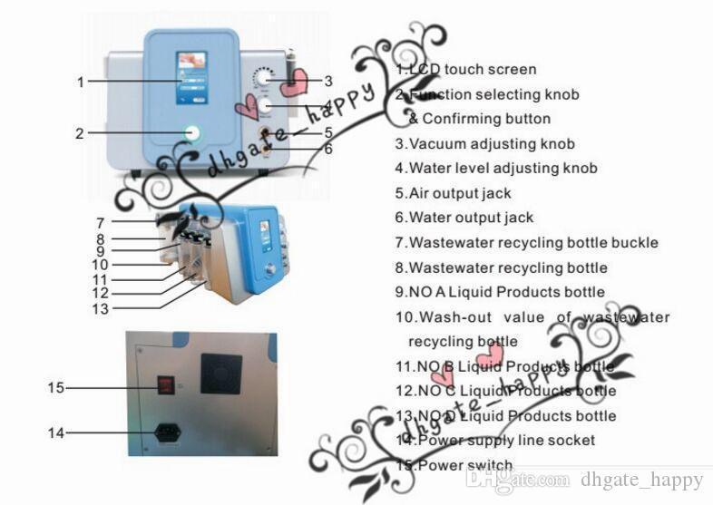 Dokunmatik Ekran 2 In 1 Elmas Mikrodermabrazyon Hydra Dermabrazyon Hidro yüz Su Oksijen Jet Peel Yüz Temizleme Makinesi, Dört Temizleme Şişesi-0 ile