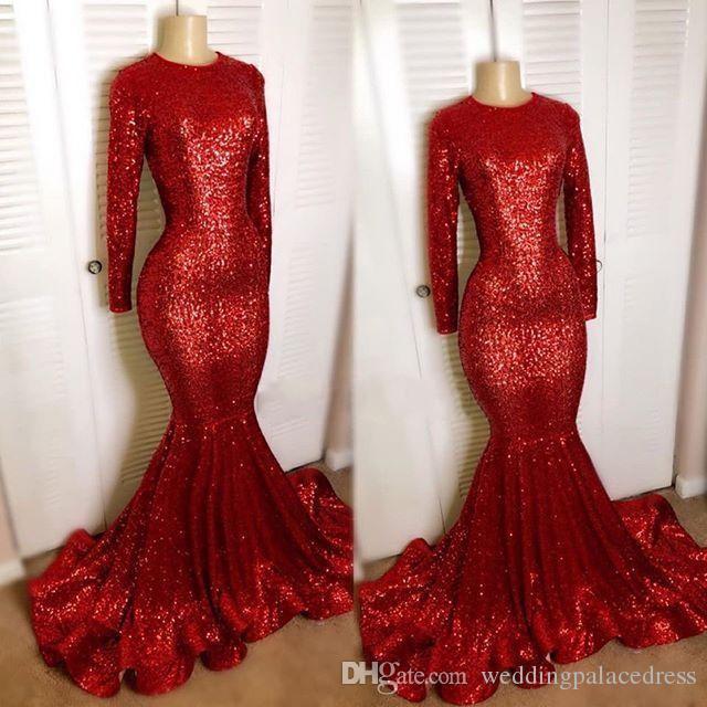 Reflectante rojo largo de las mangas Lentejuelas de la sirena de los vestidos de noche de las muchachas negras Jewel Partido Prom Vestidos túnica de cuello de soirée Vestidos de fiesta