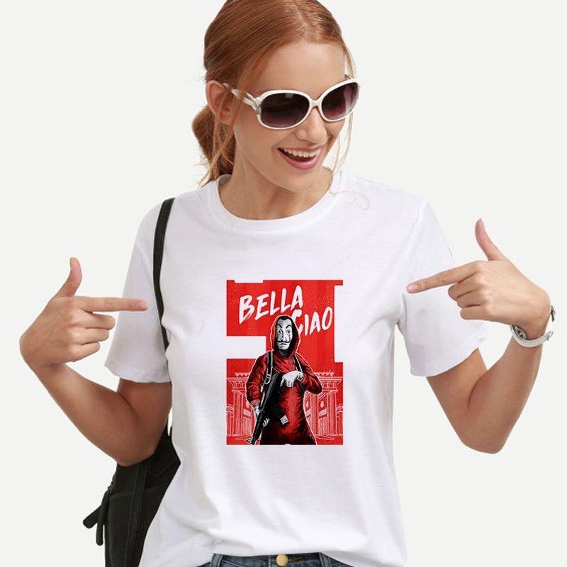 New Money Heist Футболка Домик Бумаги La Casa De Papel Camiseta Футболка Женщины Лето Повседневная Маска Дали Футболка Casa De Papel