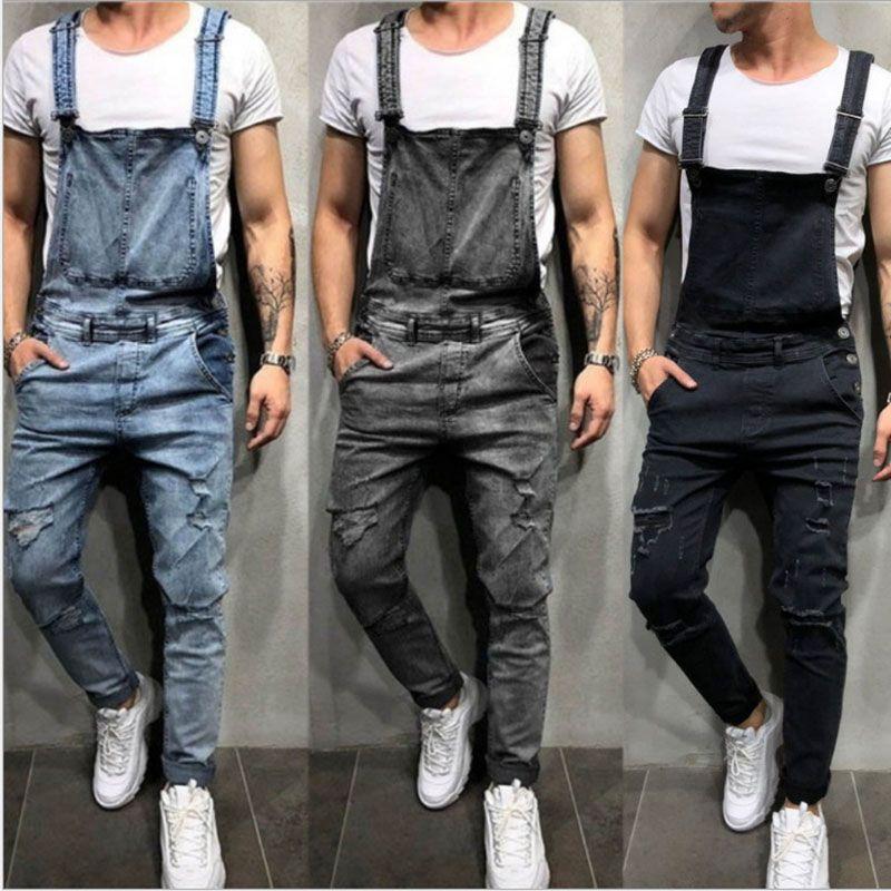 2019 Moda Uomo jeans strappati tute Via afflitto denim del foro Salopette per l'uomo della bretella ansima il formato M-XXL