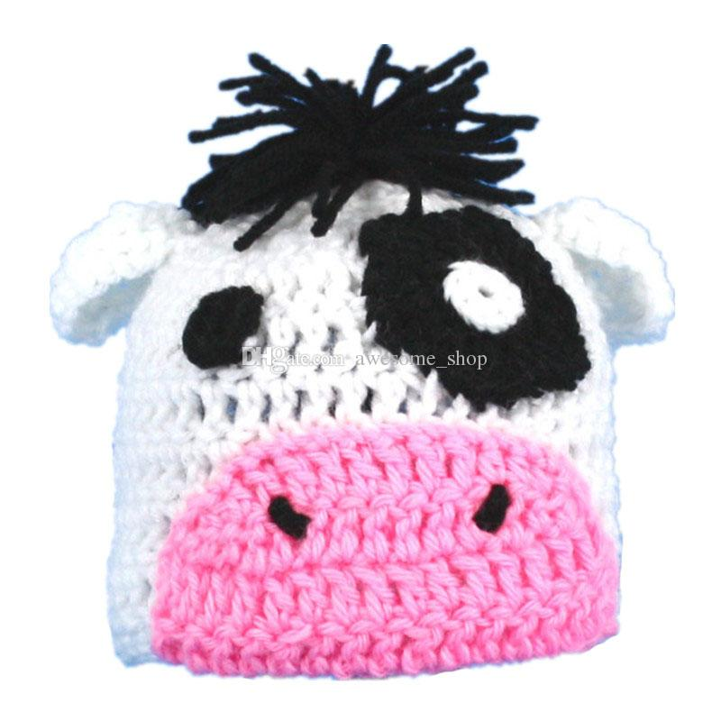 2019 Novelty Knit Baby Little Cow Hathandmade Crochet Baby Boy Girl