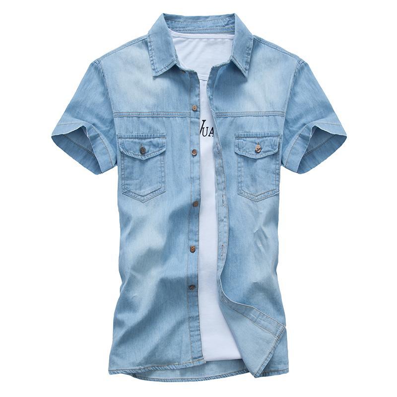Verão Marca Denim shirt Homens algodão de manga curta Turn-Down Collar Mens Shirts da Casual Slim Fit Jeans camisas Chemise homme