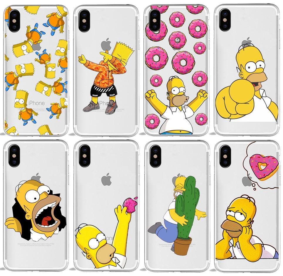 Homer J Simpson Funny Bart Simpson Coque Cartoon Phone Case For ...