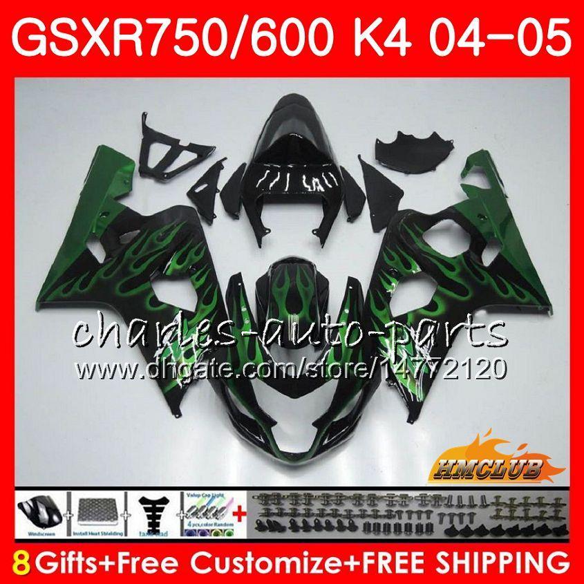 Kit pour SUZUKI GSX R600 R750 GSXR600 GSXR750 flammes vertes GSXR 600 750 04 05 7HC.24 GSXR750 GSXR750 K4 GSXR600 04 05 2004 2005 Carénage
