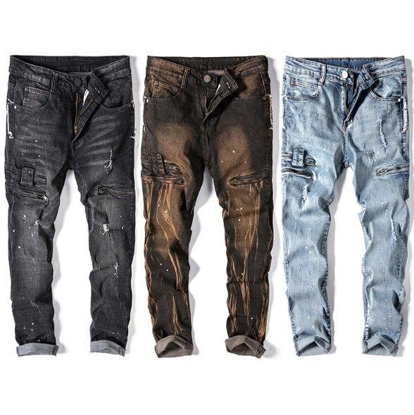 Mens Biker Jeans bolso com zíper Buraco retas Jeans High Street Mens estiramento magros calças respingo de tinta