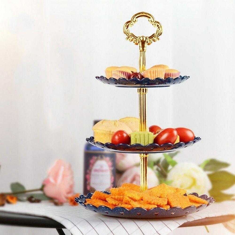1set 3 Ebene Kuchen-Standplatz-Hochzeitstorte Plattenhalter Dessert Obst Gemüse Platziert Werkzeug Hochzeit Geburtstags-Party-Kuchen-Standplatz