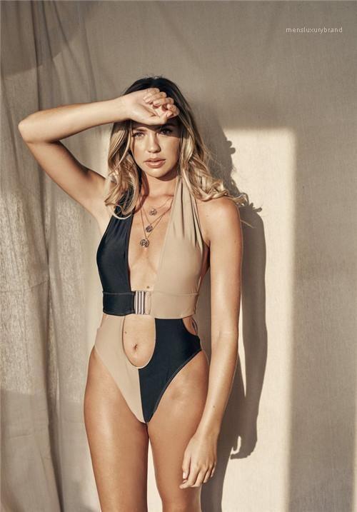 على النقيض من ملابس السباحة مثير اللون V الرقبة بيكيني الاستحمام الدعاوى أزياء المرأة قطعة واحدة حللا ليوبارد مصمم النساء