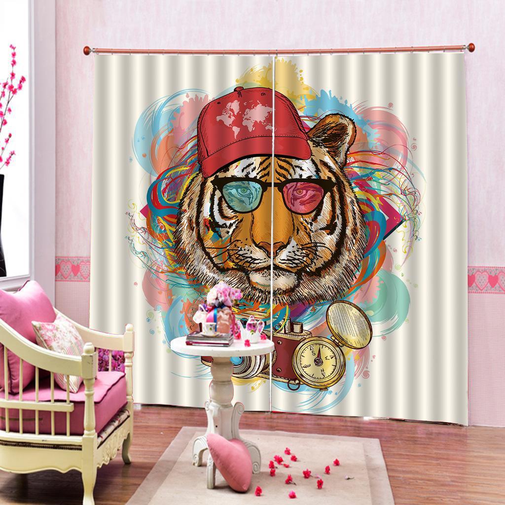 Personalizzato tigre 3D Curtain Digital Print di lusso mancanza di corrente elettrica tenda della finestra Per Soggiorno Camera da letto tende (lato destro e sinistro)