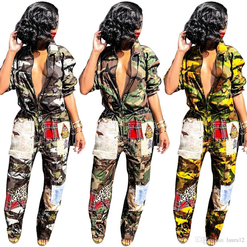 2019 Newesr Camuflagem Impressão Multicolor Moda Macacões Lapela Pescoço Com Zíper Bolsos Soltos Macacões Casuais Macacão Para O Clube Noite Fora