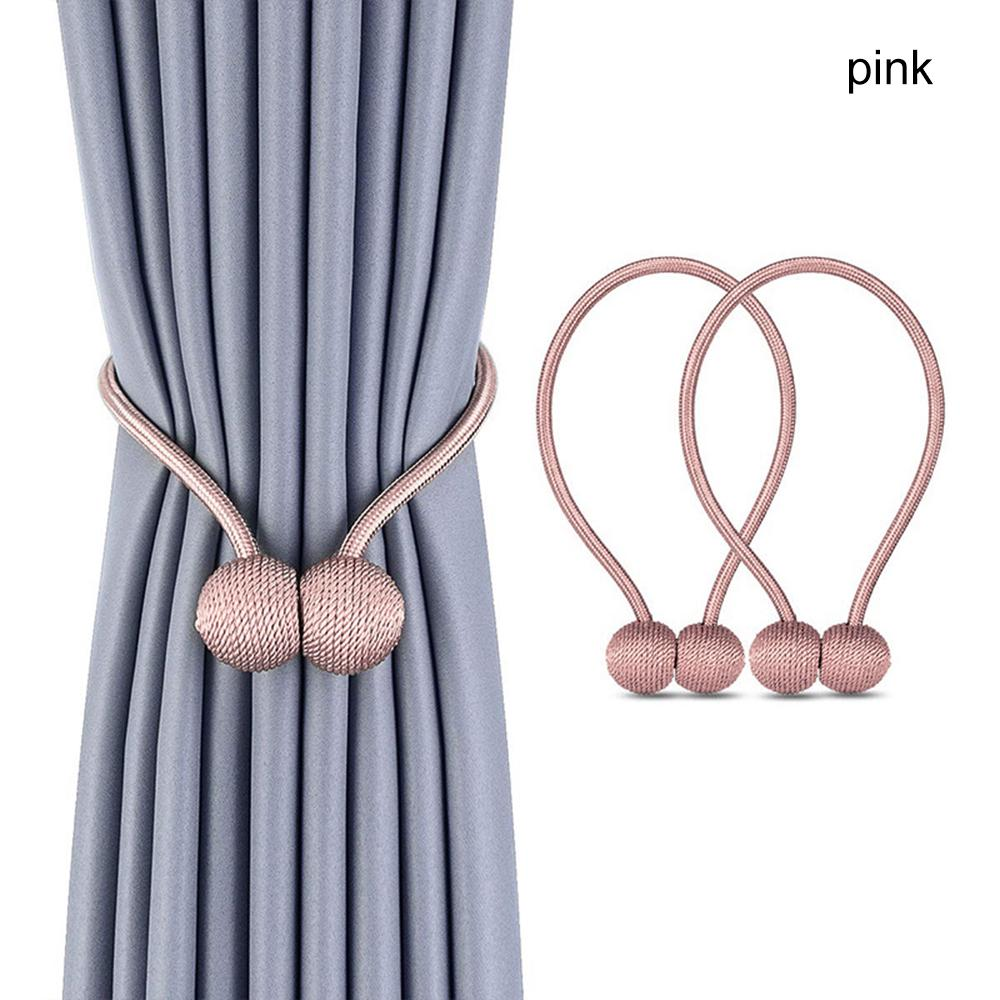 2Pcs Pearl Curtain Simple Tie Rope Magnetic Ball Curtain Clip Hook Holder Backs Buckle Home Decor Curtain Decorative Accessories