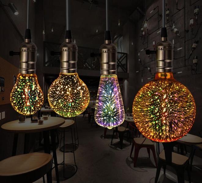 3D LED-Birnen-Stern E27 Weinlese-Edison-Nachtlicht Bunte Bombillas Retro Glas Lampara Ampoule Weihnachten Home Decor feuerwerk RGB
