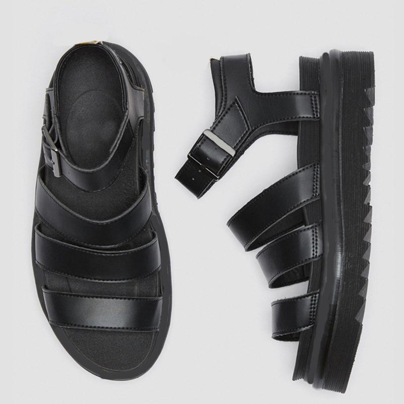 럭셔리 디자이너 검투사 샌들 여성 검은 색 여름 인과 신발 편안한 가죽 버클 닥터 마틴 플랫폼 샌들 크기 35-40