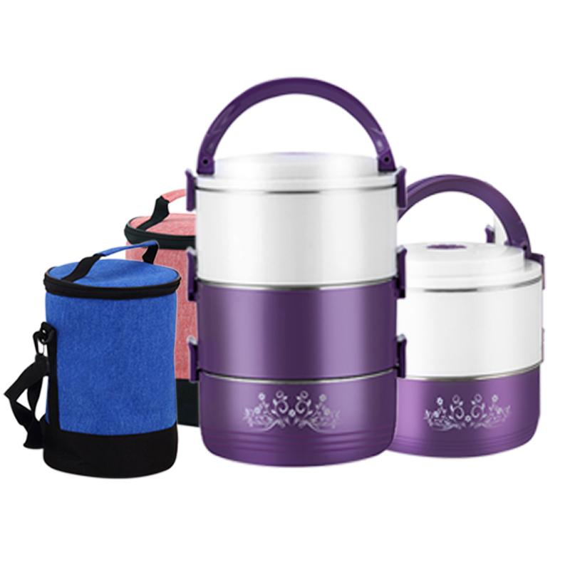 Best 304 Stainless Steel Round Lunch Box Thermo Food Containers Heat cold Insulated Kids Student Office Snack Food Storage Boxe C18112301
