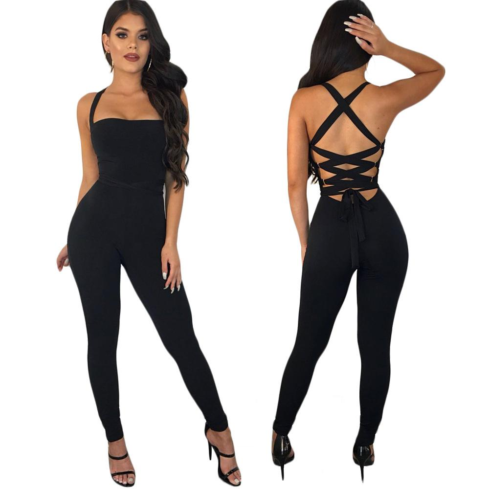 Frauen Bandage Bodycon Overalls Schwarz Stretchy Zurück Hohl Slash Neck Lange Club Jumper Catsuits Schlank Playsuits Overalls