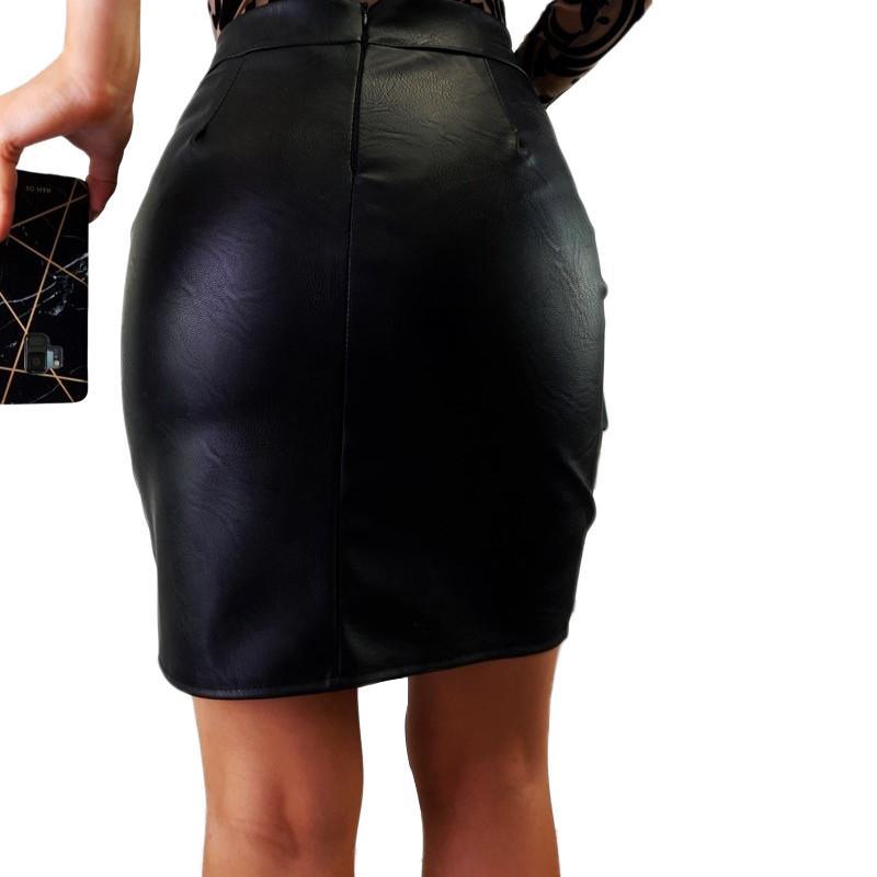 Womens PU Leather Lace Mini Skirt Ladies High Waist Zipper Pencil Skirts Dress