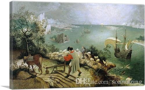 Handgemalte berühmte Pieter Bruegel der Ältere Landschaft mit dem Fall von Ikarus Qualitäts-Ölgemälde auf Leinwand-Wand-Deko Wohnkultur vA 10